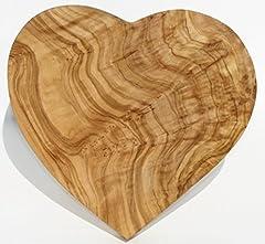 Idea Regalo - Figura Santa Tavoletta in Legno di ulivo Heartbeat. Dimensioni 20 x 20 cm. Utilizzabile Come Decorazione, Tagliere e tavoletta per la Colazione. Legno d'ulivo meravigliosamente venato.