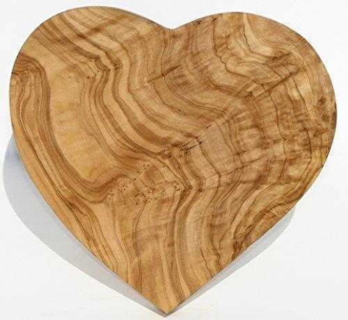 Olivenholzbrett HEARTBEAT. Größe 20 x 20 cm. Dekorationsobjekt - Schneidebrett - Frühstücksbrettchen. Wunderschön gemasertes Olivenholz!
