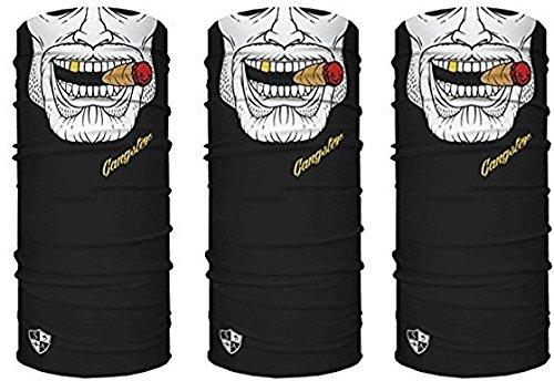 3 x Premium multifunción Bandana | Braga | | paño de manguera | Pañuelo con calavera de esqueleto Máscaras para moto bicicleta Esquí Paintball Gamer Carnaval Disfraz Calavera Máscara … (3 Gangster)