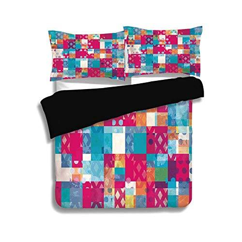 Schwarzer Bettbezug-Set, moderne Kunst, abstraktes Motiv mit Punkten mit Quadraten und Chevron-Linien Urban Art Design Print, mehrfarbig, dekorativ 3-teiliges Bettwäscheset von 2 Pillow Shams, TWIN-Gr (Twin Bettwäsche Für Mädchen Chevron)