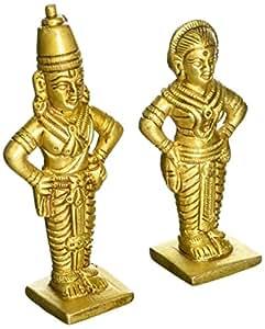 Exotic India Lord Vitthal or Panduranga and Rukmini - Brass Statue