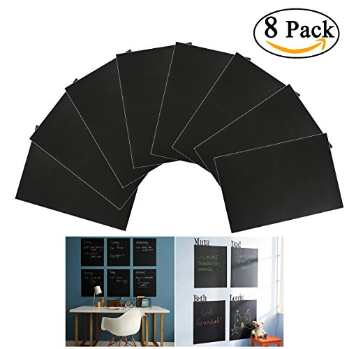 Preisvergleich Produktbild NUOLUX 8ST A4 Tafelfolie Selbstklebend Sticker abnehmbare Tafel Aufkleber Wandaufkleber mit 1 Kreide (schwarz)