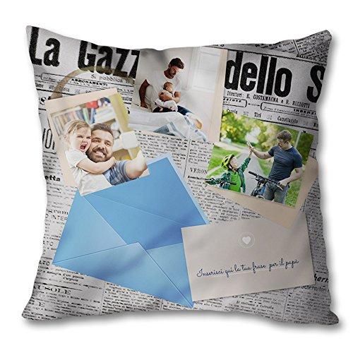 Cuqfp-193 cuscino quadrato idea regalo per il papa' la gazzetta del papa' con foto 40x40 cm grafica a