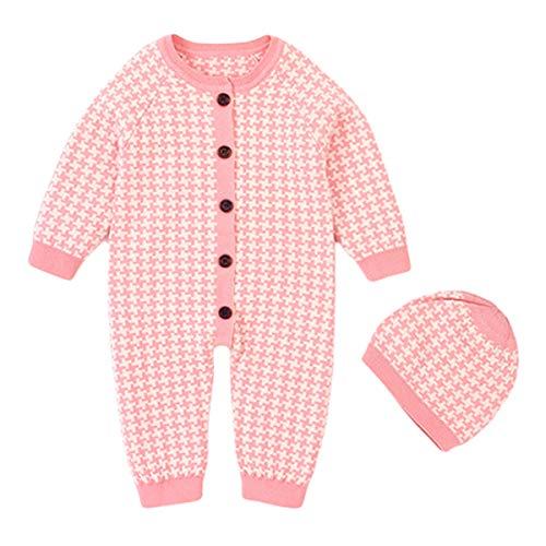 Wahyou® Neugeborenes Baby Ohr Kapuze Gestrickte Strampler Overall mit Kapuze Kleidung Set Baby Unisex Winter wärmer Schneeanzug für Jungen Mädchen Outfit 0-18 Monate(Pink,90)