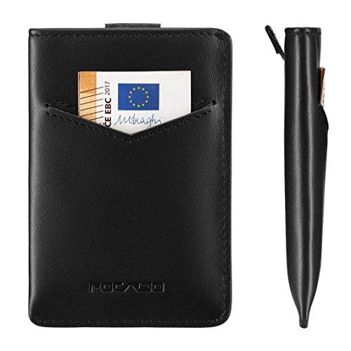 Kreditkartenetui Leder Schwarz | mini Geldbörse für Karten und Geldscheine | RFID Schutz