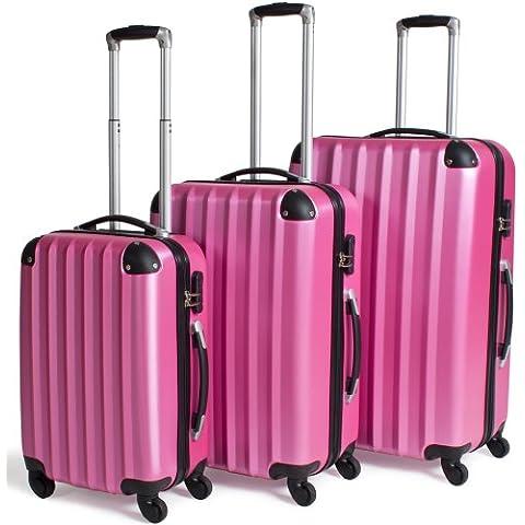 TecTake Set 3 Maletas ABS Juego de Maletas de Viaje Trolley Maleta Dura con Ruedas rosa