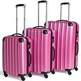 TecTake Set 3 Maletas ABS Juego de Viaje con Ruedas - disponible en diferentes colores - (Rosa)