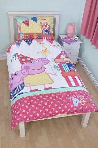 Housse de couette réversible unique pour le fête foraine Peppa Pig & ensemble taie d'oreiller