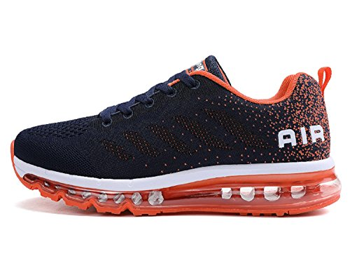 Unisex Herren Damen Sportschuhe Laufschuhe mit Luftpolster Turnschuhe Profilsohle Sneakers Leichte Schuhe (Dunkelblau Orange,44 EU)