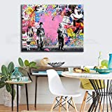 Orlco Art Graffiti sur toile de Banksy Impression artistique motif Einstein colorée, Toile, rose, 40