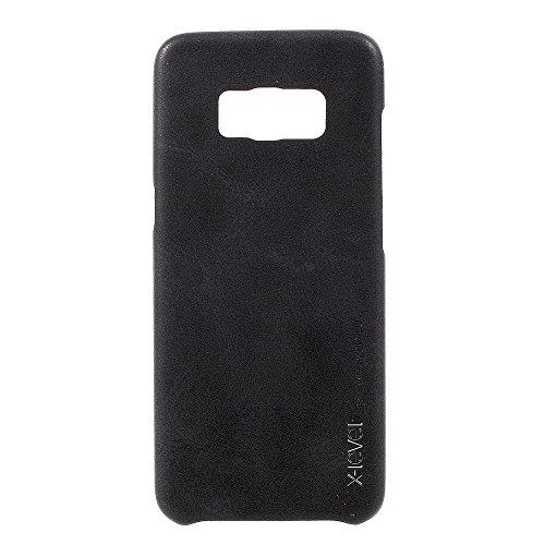 X-LEVEL Vintage Series PU Leather Coated Hard PC Tasche Hüllen Schutzhülle für Samsung Galaxy S8 G950 - schwarz