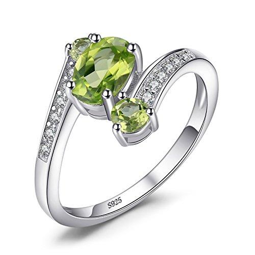 Jewelrypalace 925 Sterling Silber 1.1 ct Natürlichen Grün Peridot 3 Stein Jahrestag Ring schmuck ringe