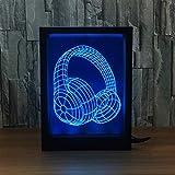 DAKANG Buntes Nachtlicht, USB-Lade 3D Stereo Touch Kreative Home Desktop Headset Modellierung Instrument Photo Frame