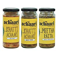 The Achaari Homemade Mango Pickle (Pack of 3) (Khatti Achaari Red Chilli, Khatti Achaari Black Pepper & Meetha Raita)