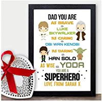 STARWARS Dad Daddy Father PERSONALISED Christmas Gifts Xmas Presents Grandad - PERSONALISED with ANY NAME and ANY RECIPIENT - Black or White Framed A5, A4, A3 Prints or 18mm Wooden Blocks