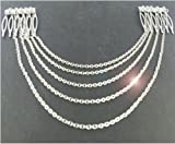 Silver Hair Pin Combs with Chain Cuff Jewellery Bridal Decoration Bride Head Band