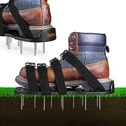 Aireador de Césped Zapatos Sandalias de Crampones de Nieve Tacklife GAS1A con 4 Correas Ajustables, Hebillas de Aleación de Aluminio, Llave de Inglesa y 28 Crampones