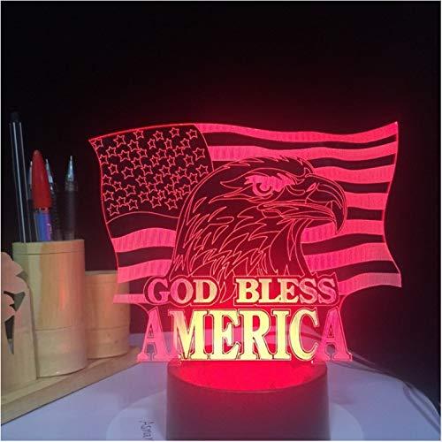 Nachtlicht lednachttisch dekor kinder geschenk 3damerikanischeflagge tischlampeledusbgott segnenachtlicht adlertouchbutton leuchten
