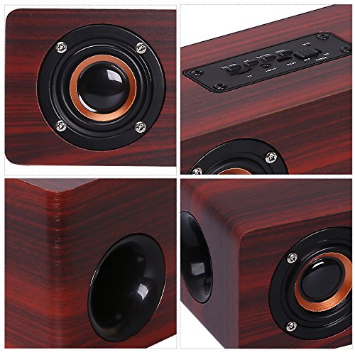 CAHAYA Wireless Wooden Bluetooth Stereo Speaker with Four Super Bass Hi-Fi Stereo Subwoofers Support TF Card Aux and FM Radio (Red)