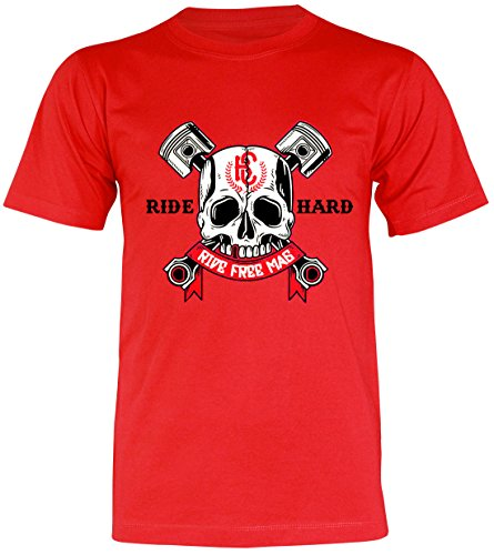 PALLAS Unisex's Motorcycle Club Ride Hard Vintage T Shirt Red