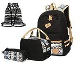 Casual Canvas Rucksack Student Tasche Rucksack Kombination für Mädchen Jungen & Kinder Jugendliche(Schwarz-02)