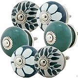 Möbelknopf Möbelknauf Möbelgriff 6er Set Nr.8 349 Farbe grün Keramik Porzellan handbemalte Vintage Möbelknöpfe für Schrank, Schublade, Kommode, Tür - Jay Knopf