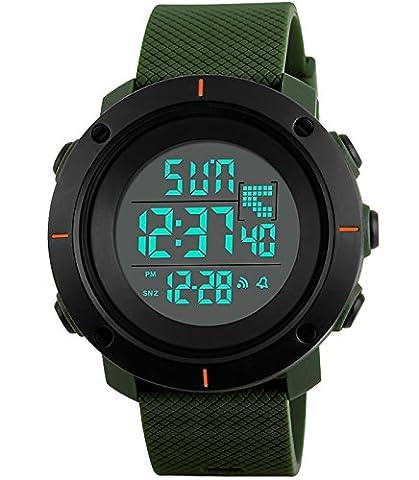 Herren Jungen Militär Tactical Sport Digitaluhr Led 50M Wasserdicht Groß Armbanduhr Männer Business Stoppuhr Uhren Schwarz Zifferblatt Uhrenband (Grün)