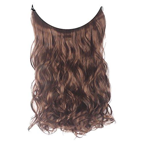 PU Ran Frauen Fish Line natur Faser Haarteil Haar Erweiterung Lange Gelockt gerade Perücke