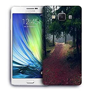 Snoogg Red Road Forest Printed Protective Phone Back Case Cover for Samsung Galaxy A7