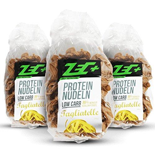 ZEC+ PROTEIN Low Carb NUDELN 3er Pack | leckere und kalorienarme Pasta mit Proteinen | sehr wenige Kohlenhydraten Low Carb | hoher Ballaststoffanteil | 3x 250g