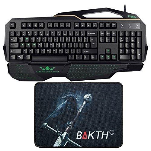 BAKTH grüne LED Backlit Mechanical Gaming Tastatur mit blauer Schalter, programmierbare Tasten, Anti-Ghosting Funktion und Schlüssel, lasergedruckter BAKTH Mauspad Geschenk