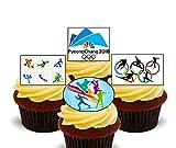 Juegos Olímpicos de invierno 2018–Cupcake–stand-up comestibles oblea decoraciones para tartas