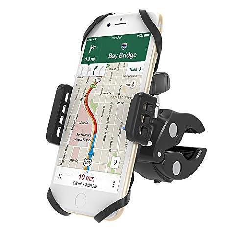 Support Vélo Téléphone VAVA Avec Bras Extensibles de Maintien en Acier et Sangles en Silicone Pour Plus de Sécurité, Design Asymétrique Pour une Large Compatibilité de l'iPhone 5S au 7 Plus, Samsung Galaxy, HTC, Huawei et Plus Support Smartphone