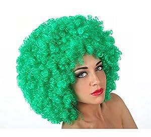 Atosa-12876 Peluca Afro, Color Verde, Talla única (12876