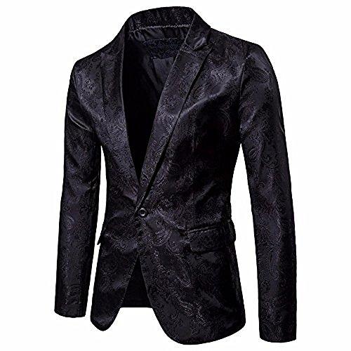 Logobeing Chaqueta de Traje para Hombre, Hombres de Encanto Casual Un Botón Apto Traje Blazer Chaqueta de Abrigo Tops (Negro)