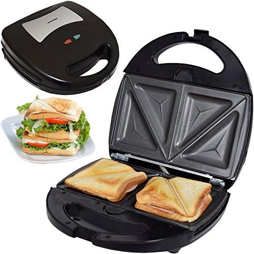 Syntrox Germany Edelstahl Maker Sandwichmaker Chefmaker SM-1300W Sandwich Delight mit herausnehmbaren Backplatten - Omelett-sandwich-maker