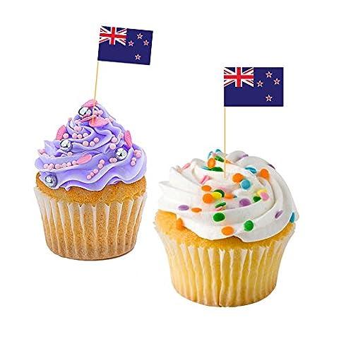 KIWI CUPCAKE FLAGS - New Zealand / Baking / Decoration / Decorative Cake Toppers (30)