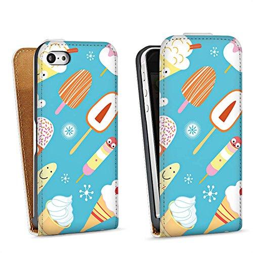 Apple iPhone 4 Housse Étui Silicone Coque Protection Crème glacée Sucreries Glace Sac Downflip blanc