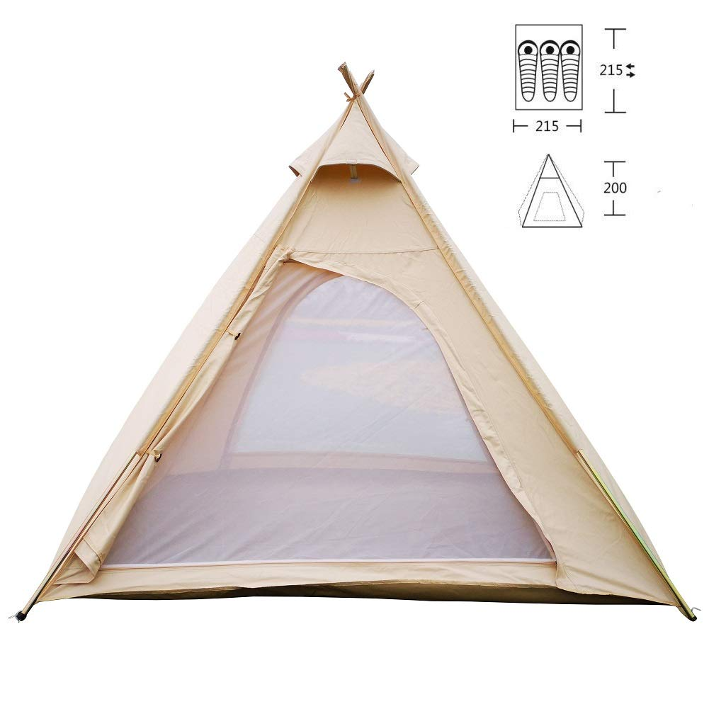 Awesome Latourreg Outdoor Canvas Camping Pyramid Tipi Tent Adult Indian Teepee Tent For 2 3 Person Download Free Architecture Designs Itiscsunscenecom