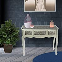 Vogue MB-117521 Desks with Drawer, Black and Silver - H 79 cm x W 98 cm x D 40 cm