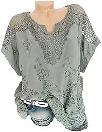 2456d11630f34 Guesspower Femme T-Shirt Ete Imprimé Fleur Tunique Lche Blouse Femme et Top  Chic Printemps O-Cou à Manches Courtes évider Solid Blouse…