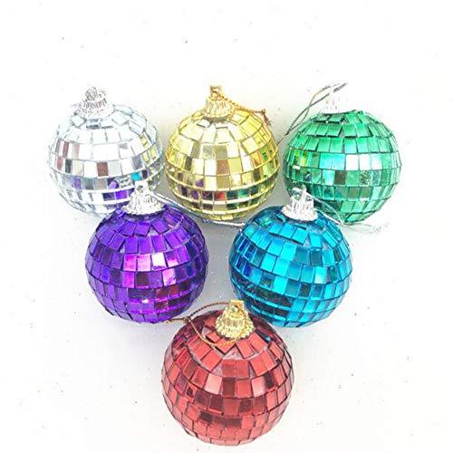 nachtskugeln Farbe Spiegel Reflektierende Kugel Bar Disco Ball Hochzeit Glaskugel Dekoration Weihnachtsschmuck Balls Ornamente Set - 6,Natural ()