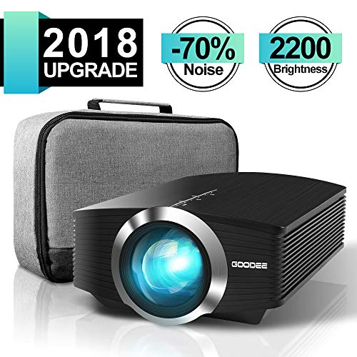 Mini Beamer, GooDee Tragbar 2200 Lumen LED Projektor,Unterstützt 1080P Kompatibel mit Fire TV Stick HDMI VGA TF AV und USB für Heimkino Spiele Film PC Laptop PS4 Xbox Smartphone