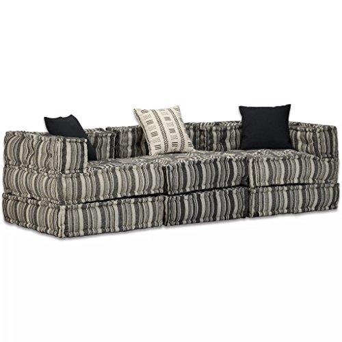 Festnight divano letto modulare moderno a 2/3/4 posti rivestimento tessuto a strisce con cuscini