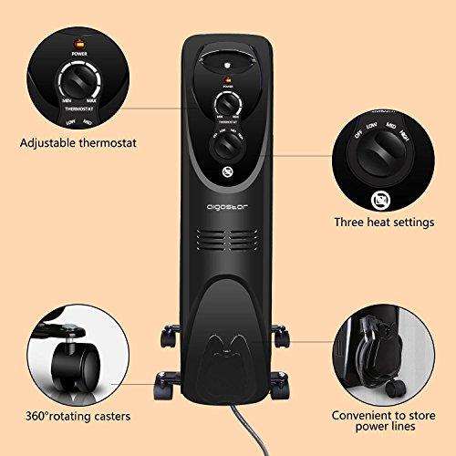 Aigostar Tummie 33JIE - Radiateur à bain d'huile portable. 11 éléments, 2300 W. 3 niveaux de puissance et thermostat réglable. Couleur noir. Design exclusif.