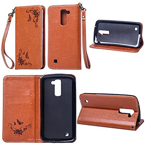 LG K7 Wallet Case,LG K7 Leather Case,Cozy Hut LG K7 Phone Case Butterfly Rose 3D Elegant PU Wallet Stand Function Leather Case Smartphone Slim Bookstyle with Magnetic Closure Card Slot Holder and Lanyard Strap Carrying Protective Case for LG K7 -
