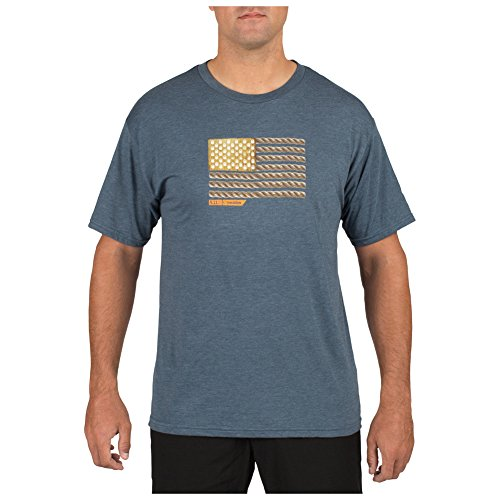 Blau Kurzarm-tactical Shirt (5.11 Tactical RECON Short Sleeve T-Shirt X Large Rope Ready Navy Heather)