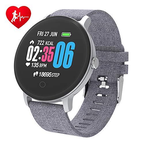 BingoFit Fitness Armbanduhr Wasserdicht Smart Watch Fitness trackers Sport Uhr mit Schrittzähler, Pulsmesser, Musiksteuerung, Schlafmonitor, Call SMS für Herren Damen (Sport-uhren)