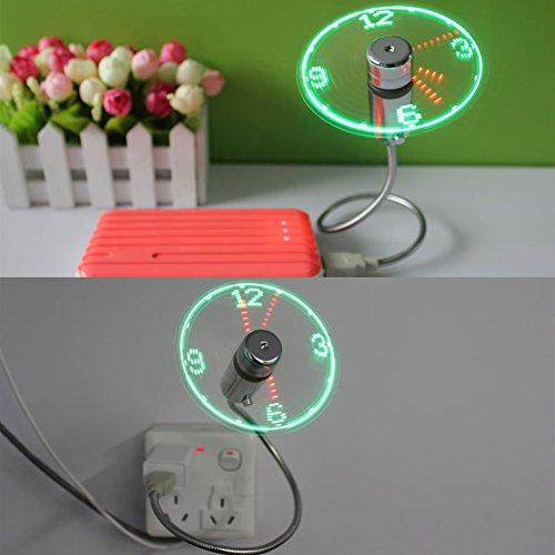 True Zeit Display LED-Uhr USB-Ventilator Flexible Mini Cool Büro Gadget Schreibtisch Fan mit Schwanenhals USB LED Uhr Display Fan für Notebook PC Laptop