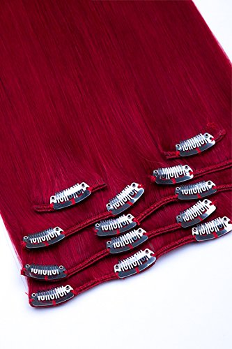(Clip In Extensions Set 100% Echthaar 7 teilig 70g Haarverlängerung 45cm Clip-In Hair Extension Nr. Dunkelrot)